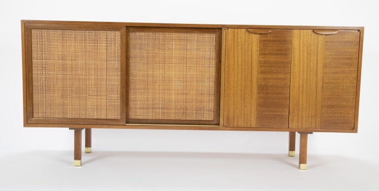 Sapele Mahogany Cane and Brass Credenza Designed by Harvey Probber