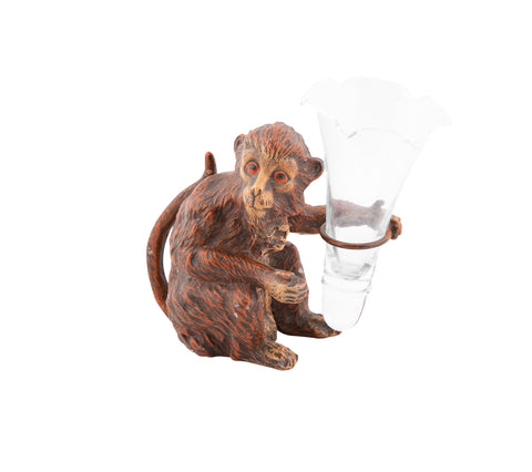 Bronze Painted Monkey Holding a Glass Vase