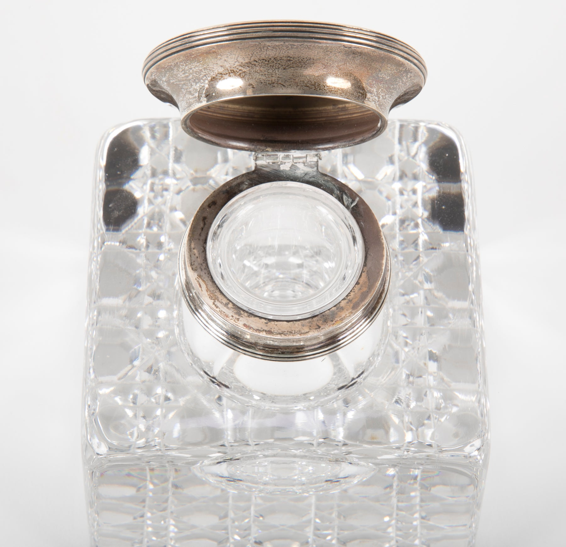 Large Cut Glass Inkwell with Sterling Lid