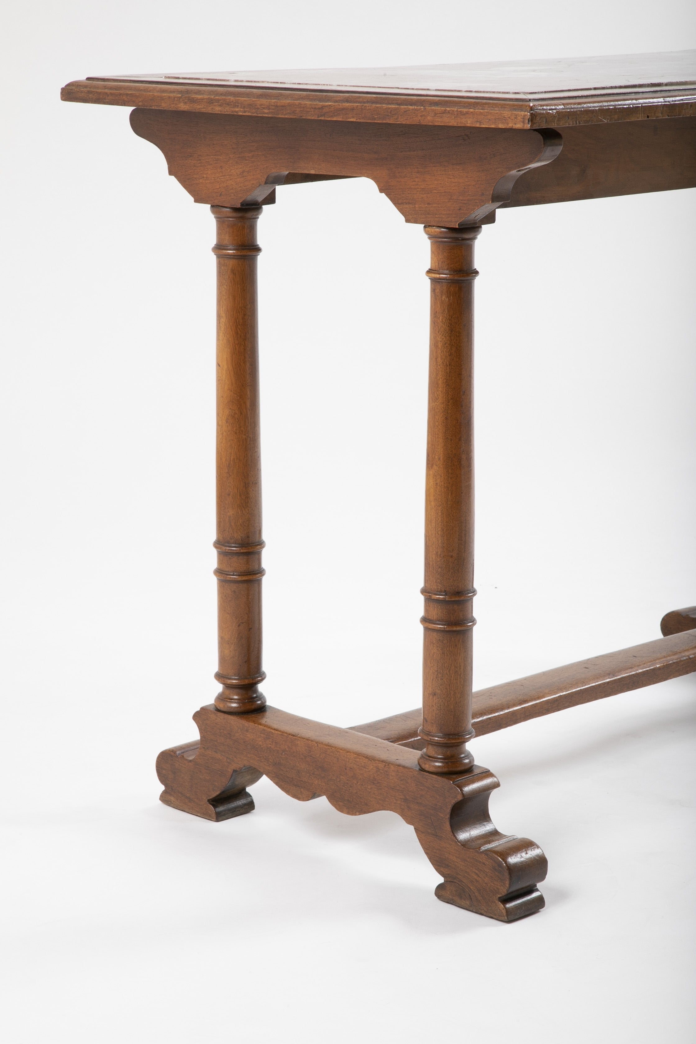 19th Century English Oak Console Table with Inset Marble Top