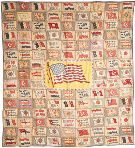 Wall Hanging Composed of Painted Felt Flags