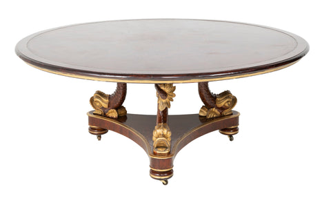 Important Size Regency Center Table with Triple Gilded Dolphin Base