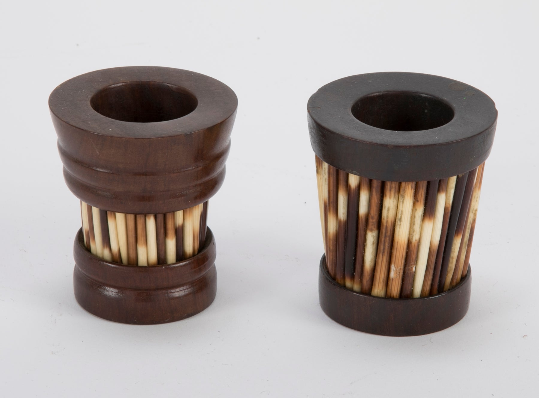 Pair of Anglo-Indian Porcupine Quill Match Holders