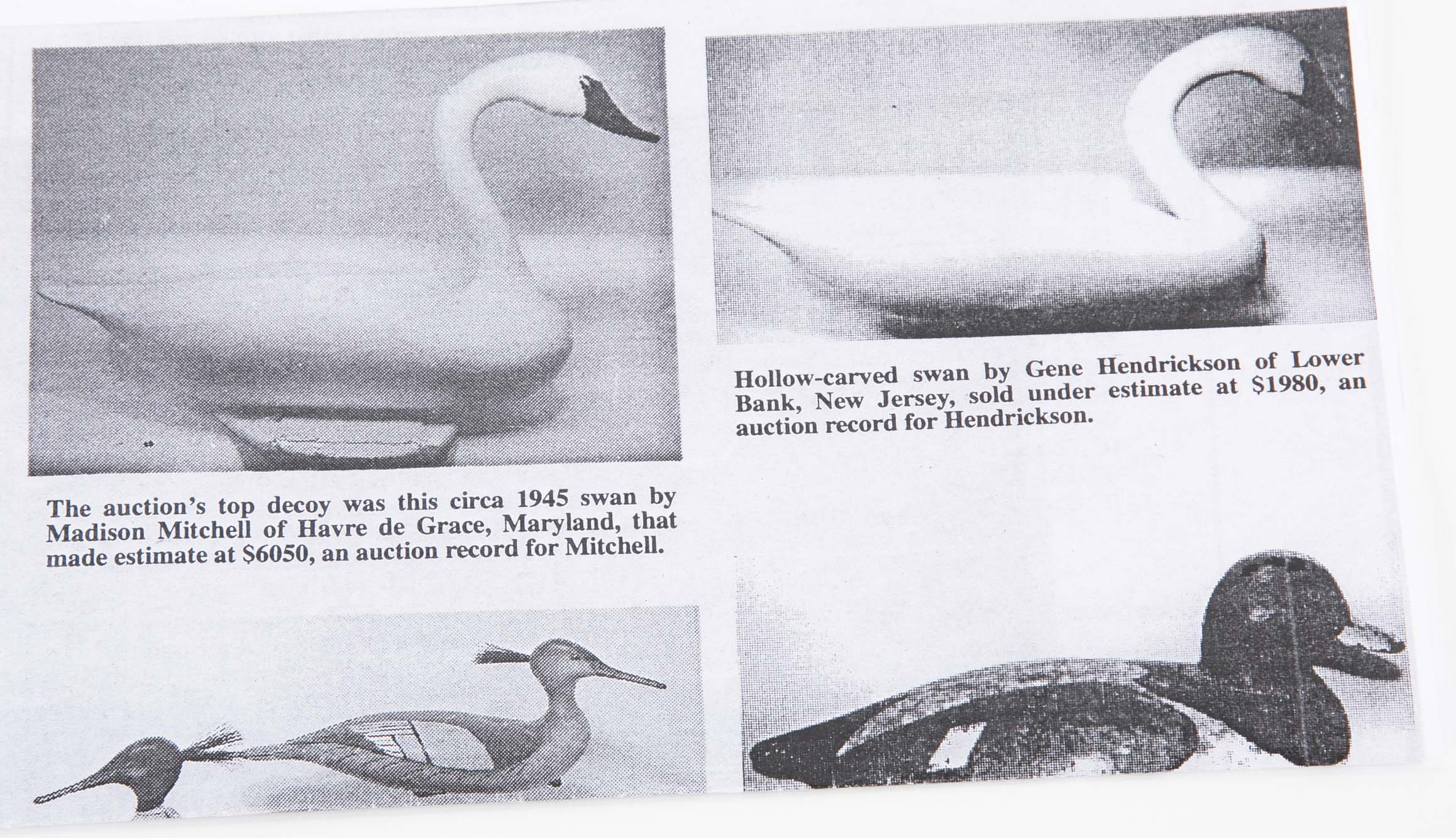 Swan Decoy by Well Known Havre de Grace, MD, Carver Madison Mitchell,