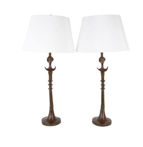 Pair of Cast Bronze Table Lamps in the Style of Giacometti