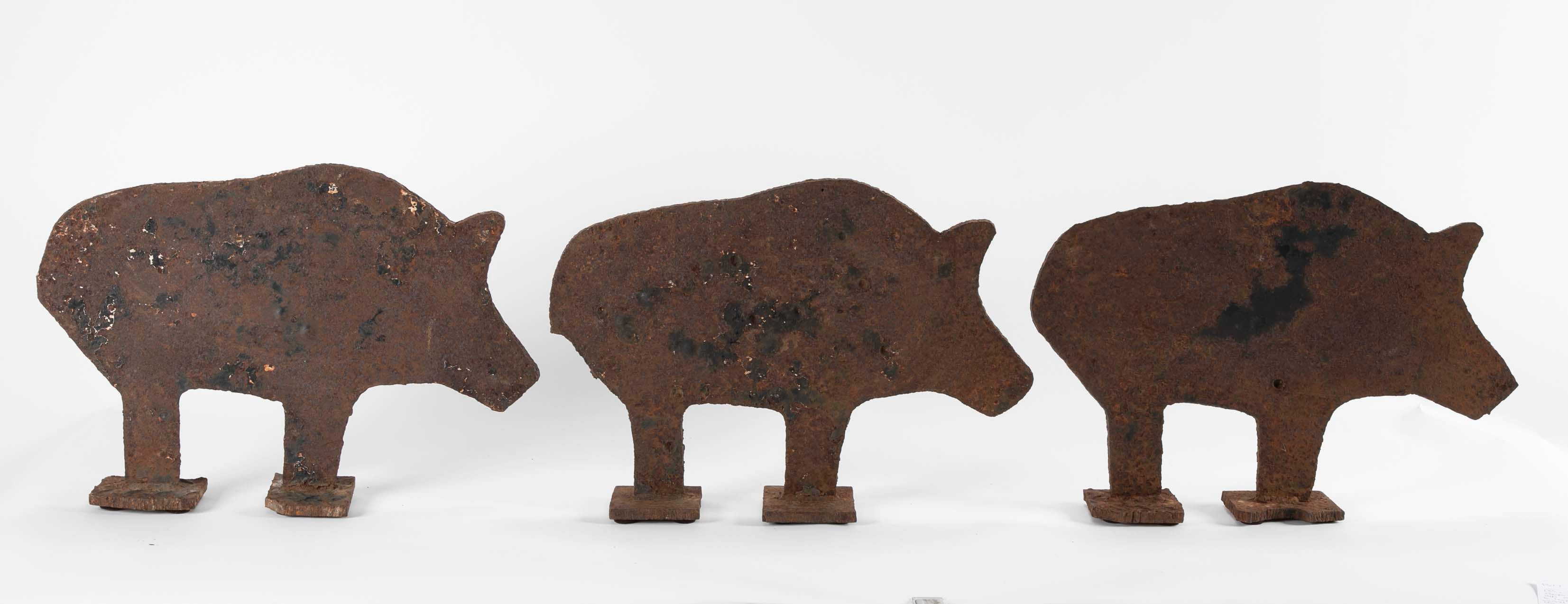 Set of Three Cast Iron Boar Targets