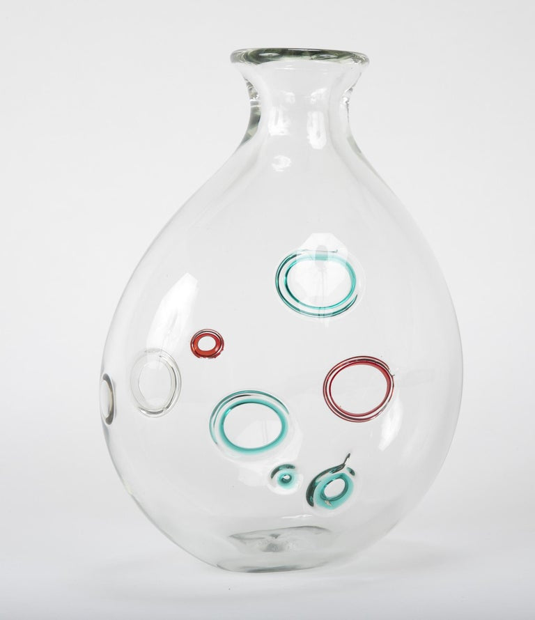 Clear Murano Glass Vase with Bubble Shapes in the Manner of Alfedo Barbini