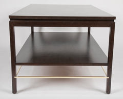 A Custom Edward Wormley for Dunbar Mahogany Library Table with Brass Stretcher