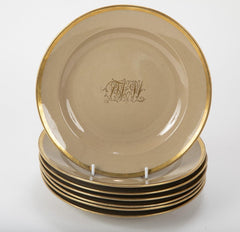 Set of 7 Drapware Plates with Gilt Borders
