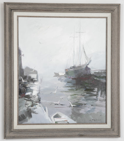 """Boats at Dock"" Oil on Canvas by Charles C. Gruppe"