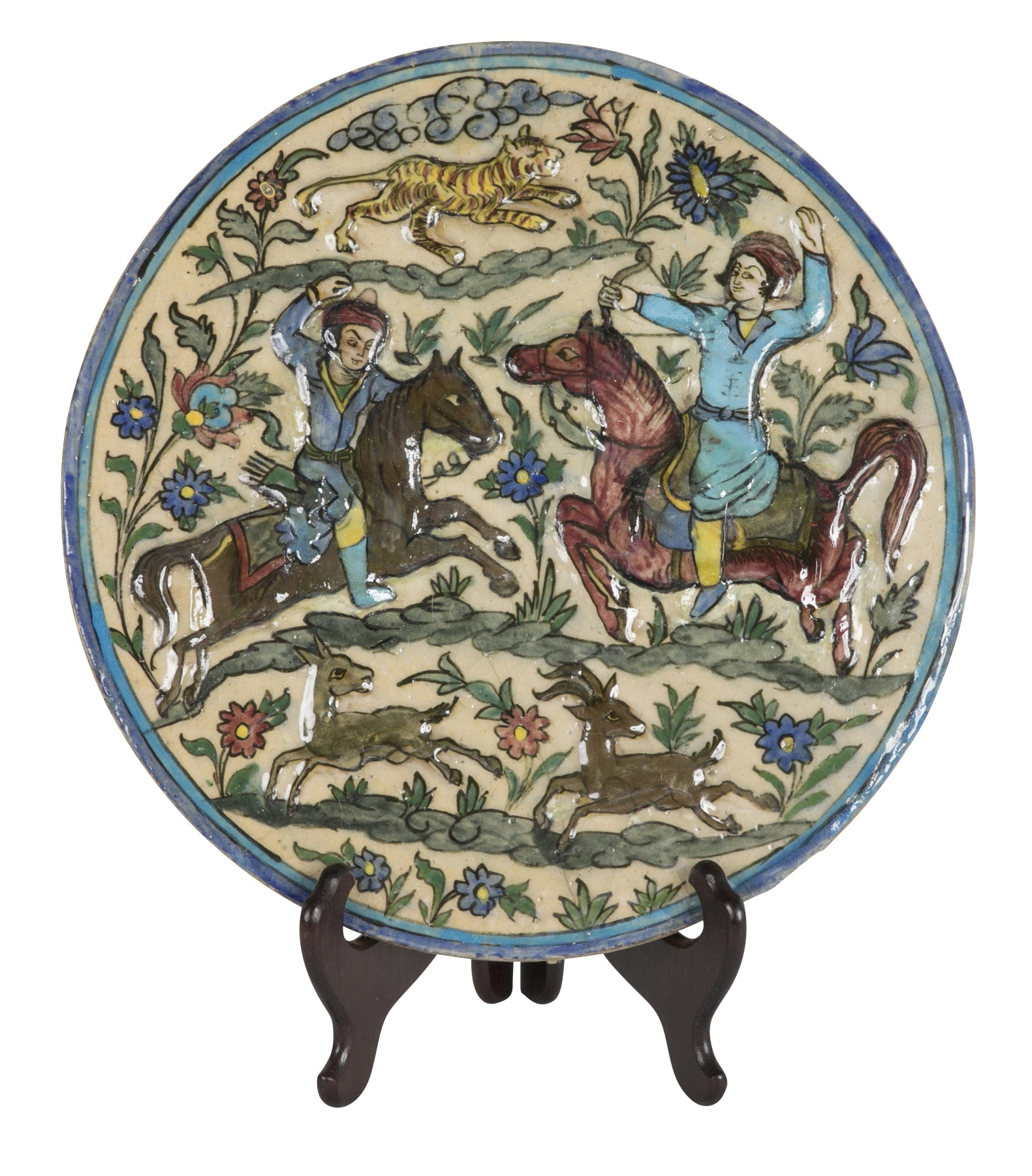 Glazed Persian Ceramic Rondel with Archers on Horseback