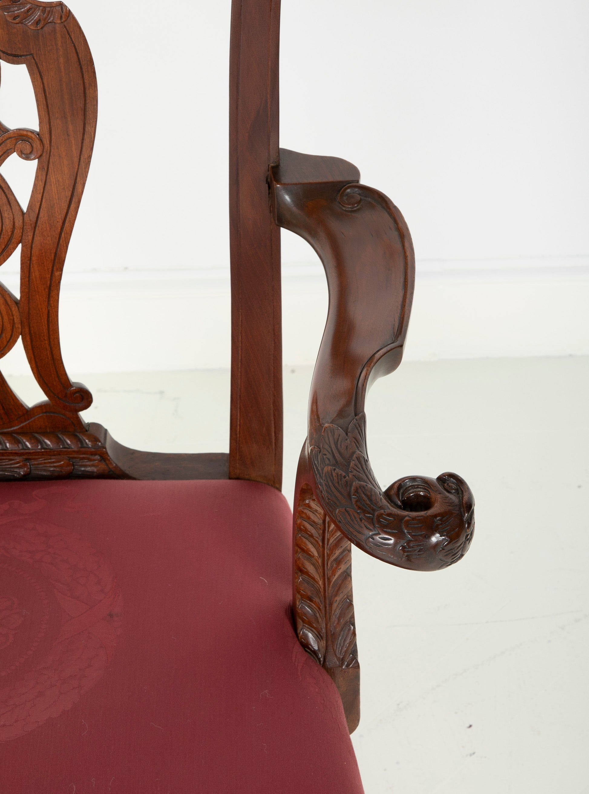 George II Period Carved Armchair of Padouk Wood
