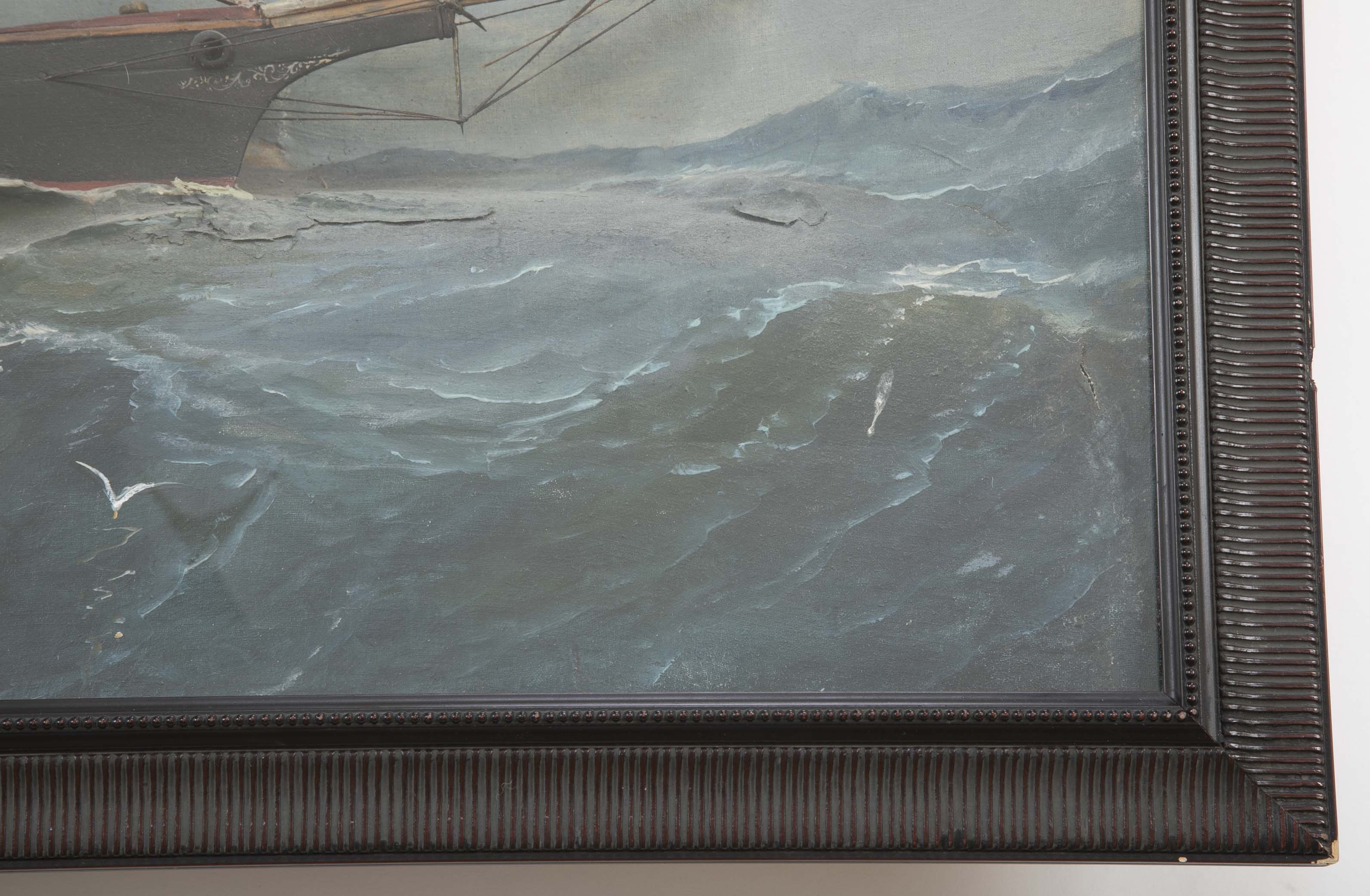 Exceptional Diorama of Steam/Sailing Vessel off Sandy Hook, CT