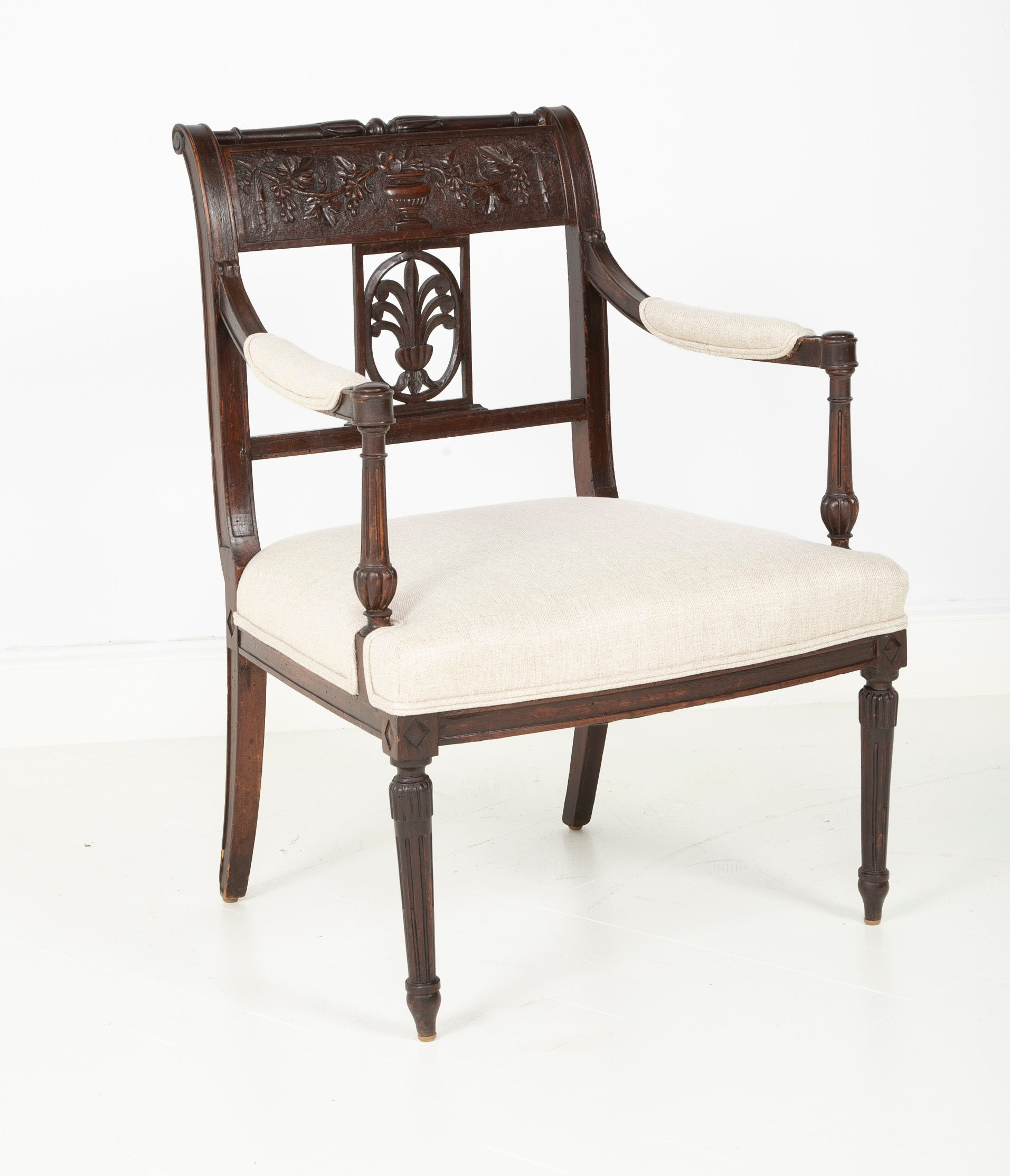 Pair of Directoire Carved Open Armchairs