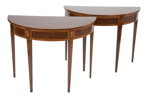 Pair of American Federal Mahogany Demilune Consoles