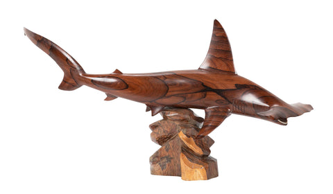Carved Cocoa Bora Wood Hammerhead Shark