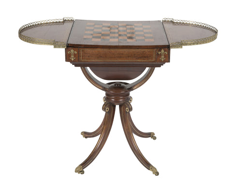 Regency Rosewood Pedestal Brass Inlaid Game Table