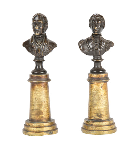 Pair of Miniature Bronze Busts