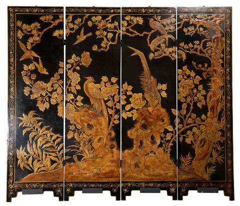 Four Panel Chinese Lacquered Screen Depicting a Phoenix