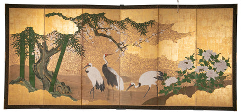 Japanese Edo Period Screen Depicting Cranes