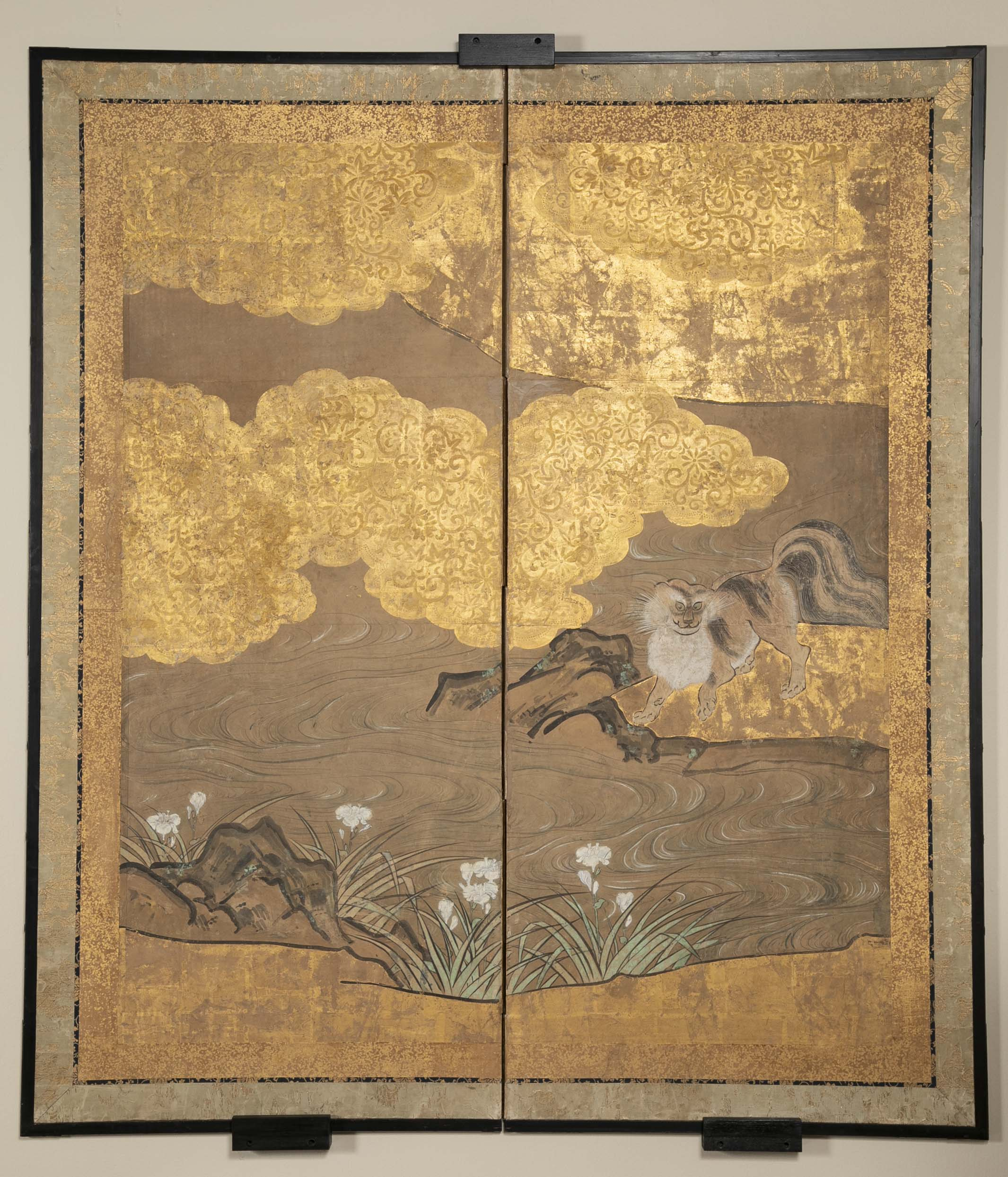 A Two Panel Japanese Kano School Style Screen