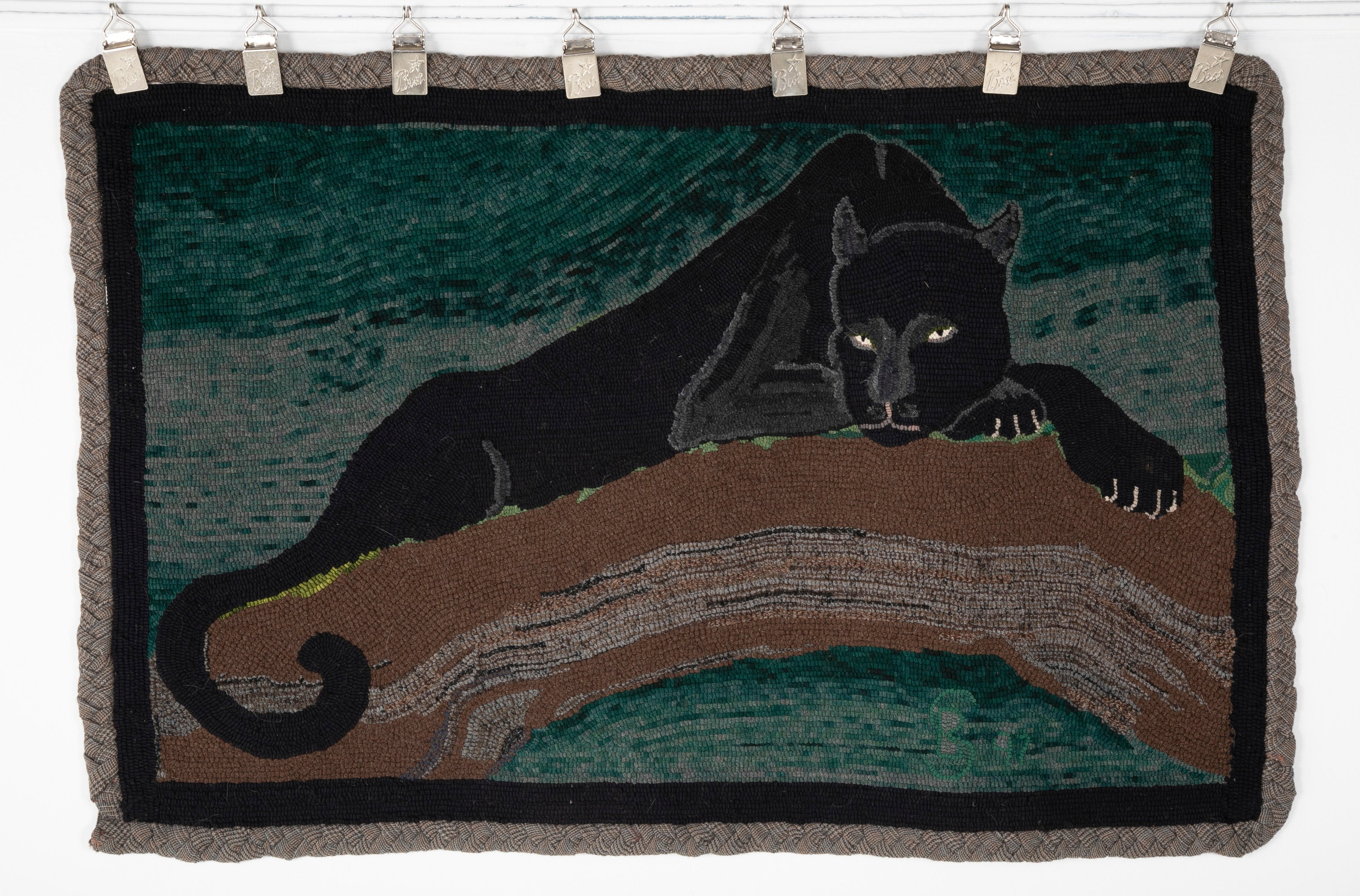 "Wool Hooked Rug with Panther by Blanche Mary ""Joy"" Sweetall"