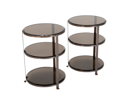 A Pair of Brass and Beveled Glass 3 Tier Side Tables