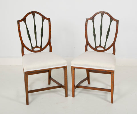 Pair of Edwardian Painted Satinwood Side Chairs