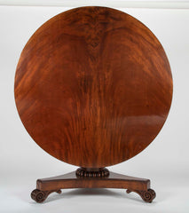 A Large English Regency Crotch Mahogany Tilt Top Table