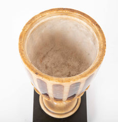 An English Alabaster Urn and Cover Inlaid with Blue John, circa 19th Century