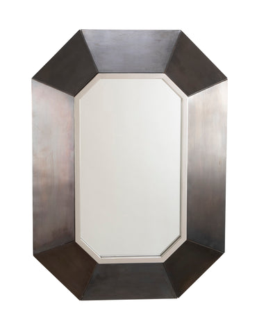 Modern Hexagonal Mirror in Brushed Steel Frame in the Manner of Maison Jansen