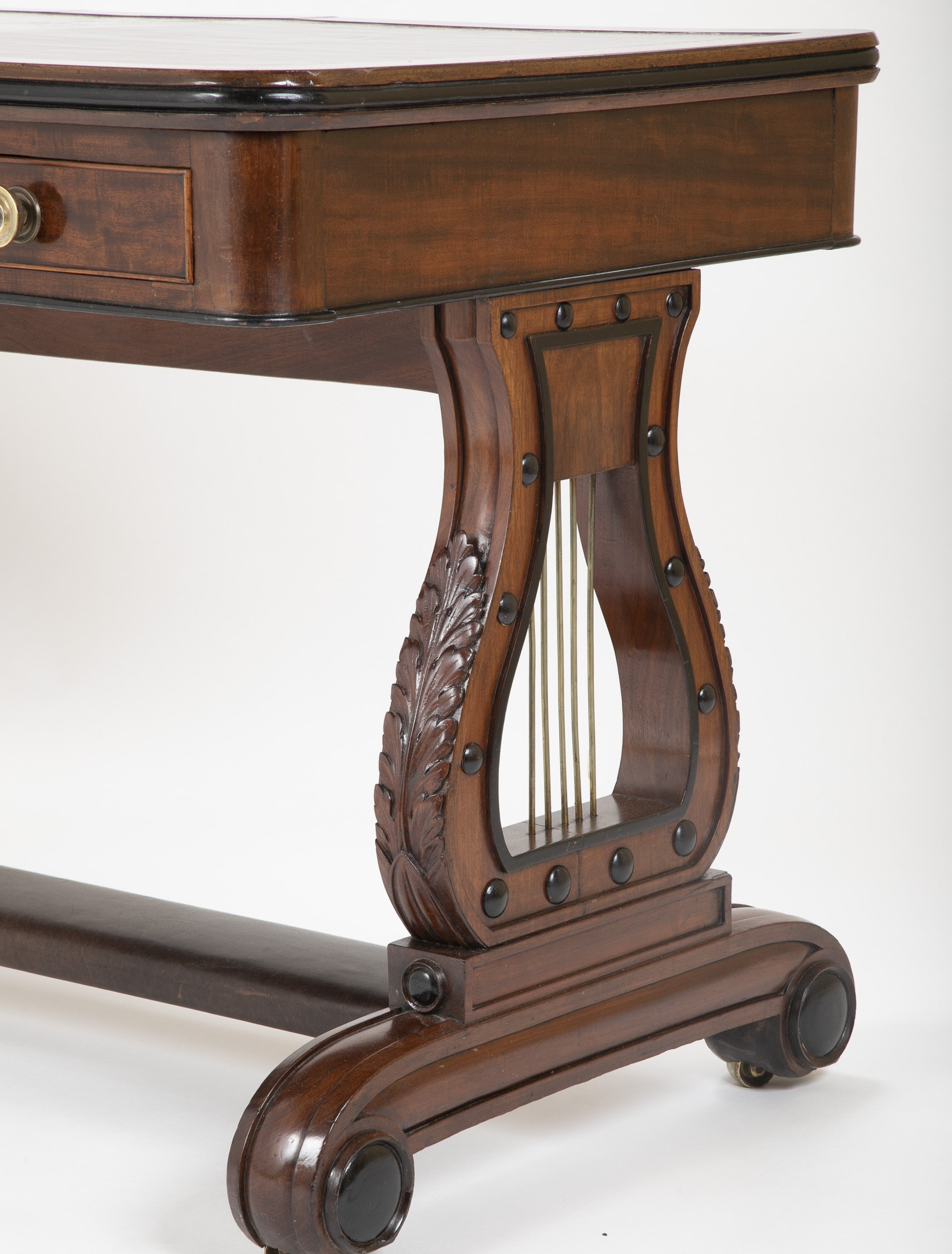 English Regency Mahogany and Ebonized Wood Lyre-End Sofa / Writing Table