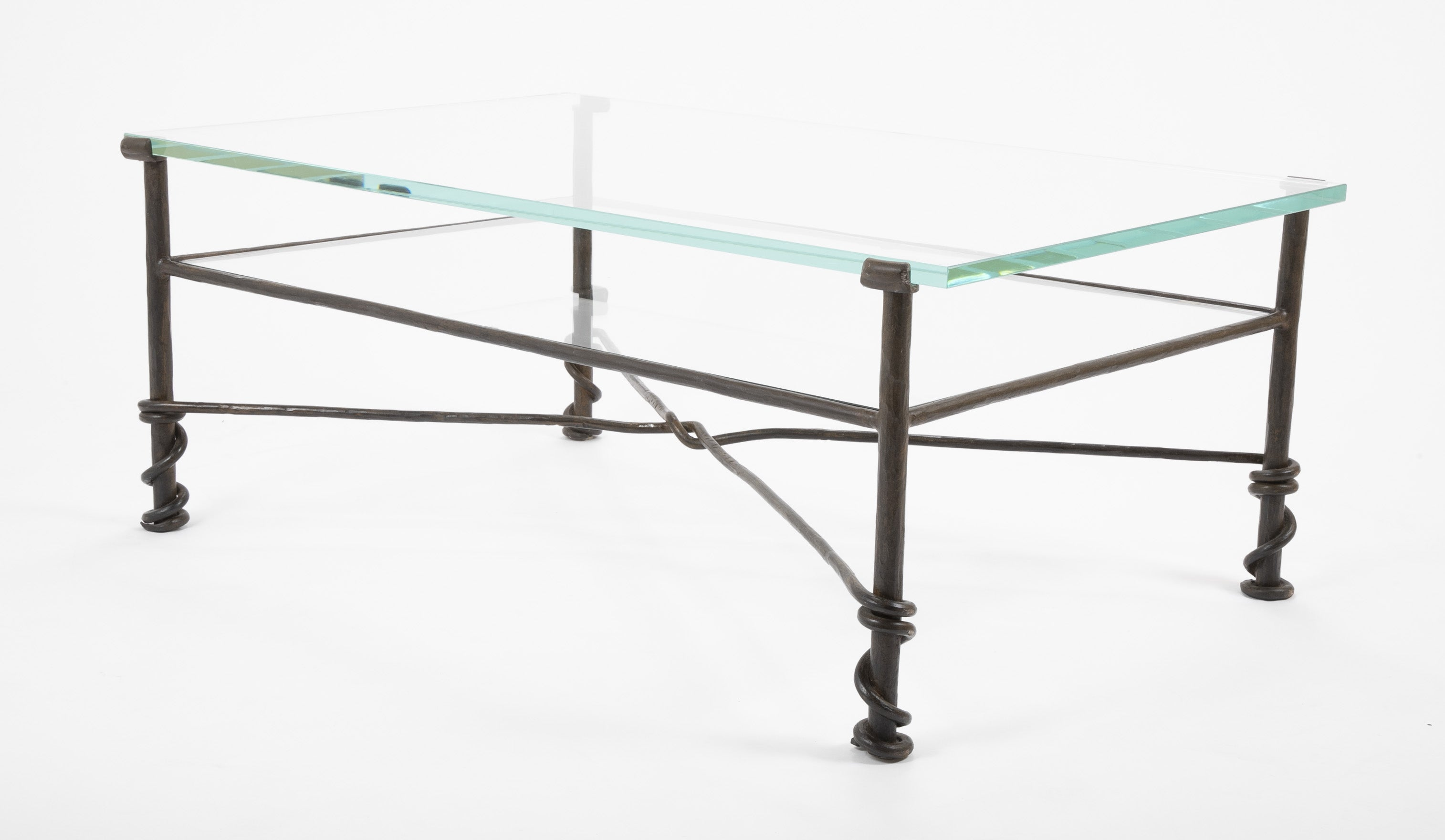 Bronze and Glass Mid-Century Modern Coffee Table