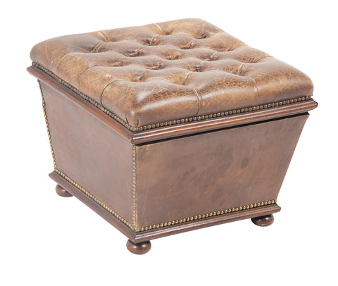 Chesterfield Style Leather Ottoman