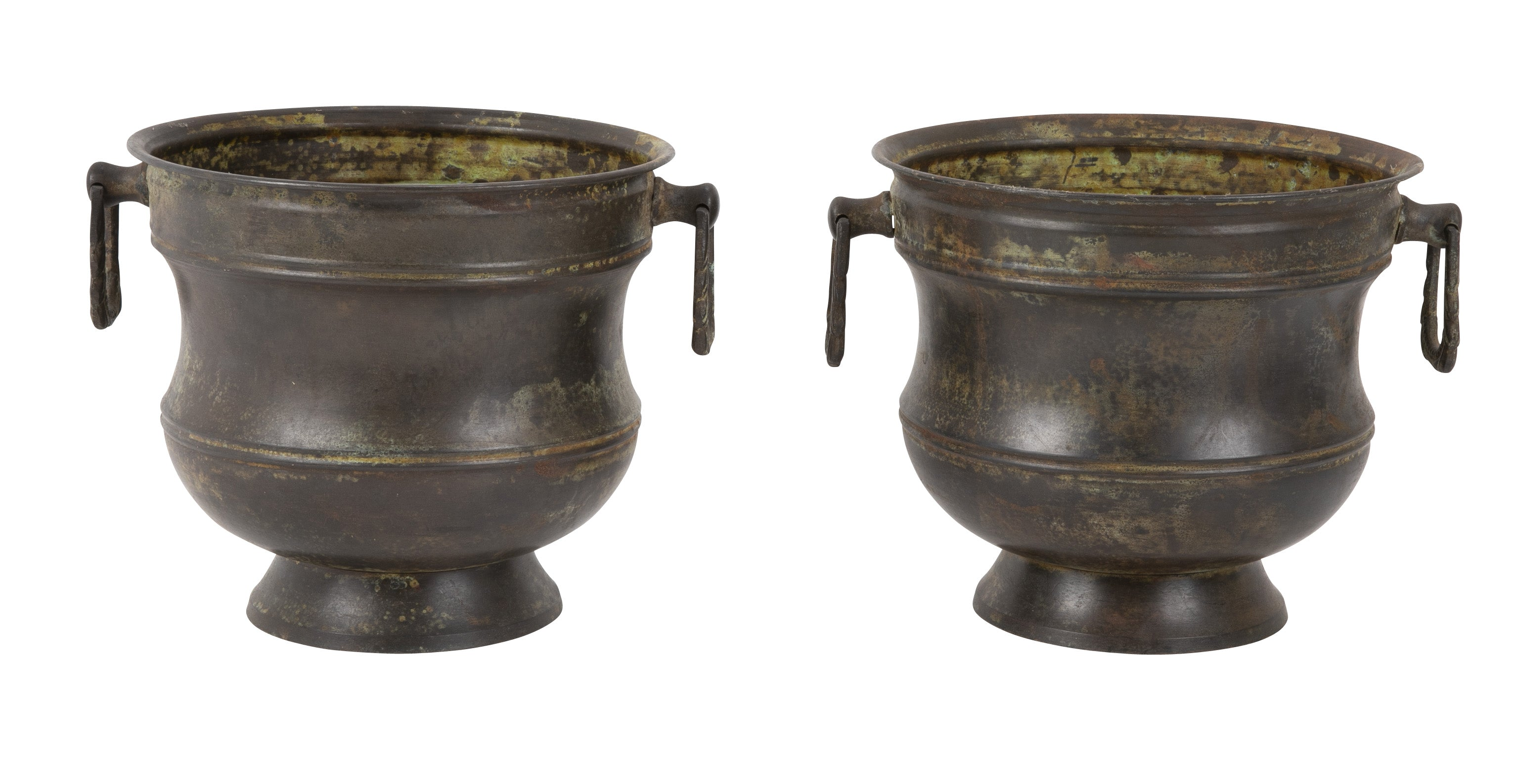 Pair of French Neoclassical Style Brass Urns