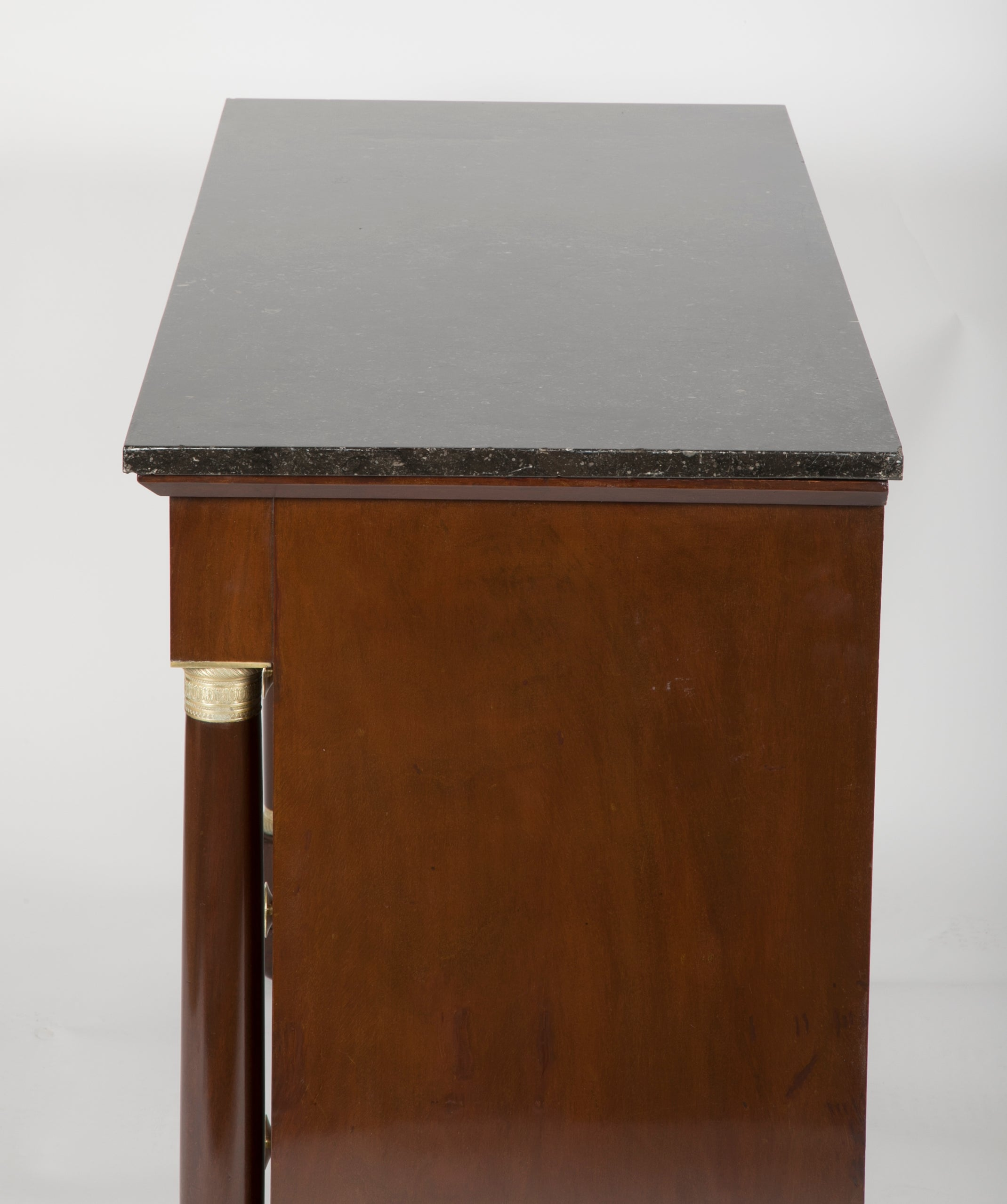 French Mahogany Four Drawer Commode with Black Marble Top