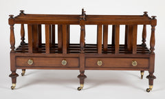 An English Regency Mahogany Double Canterbury with Two Drawers.