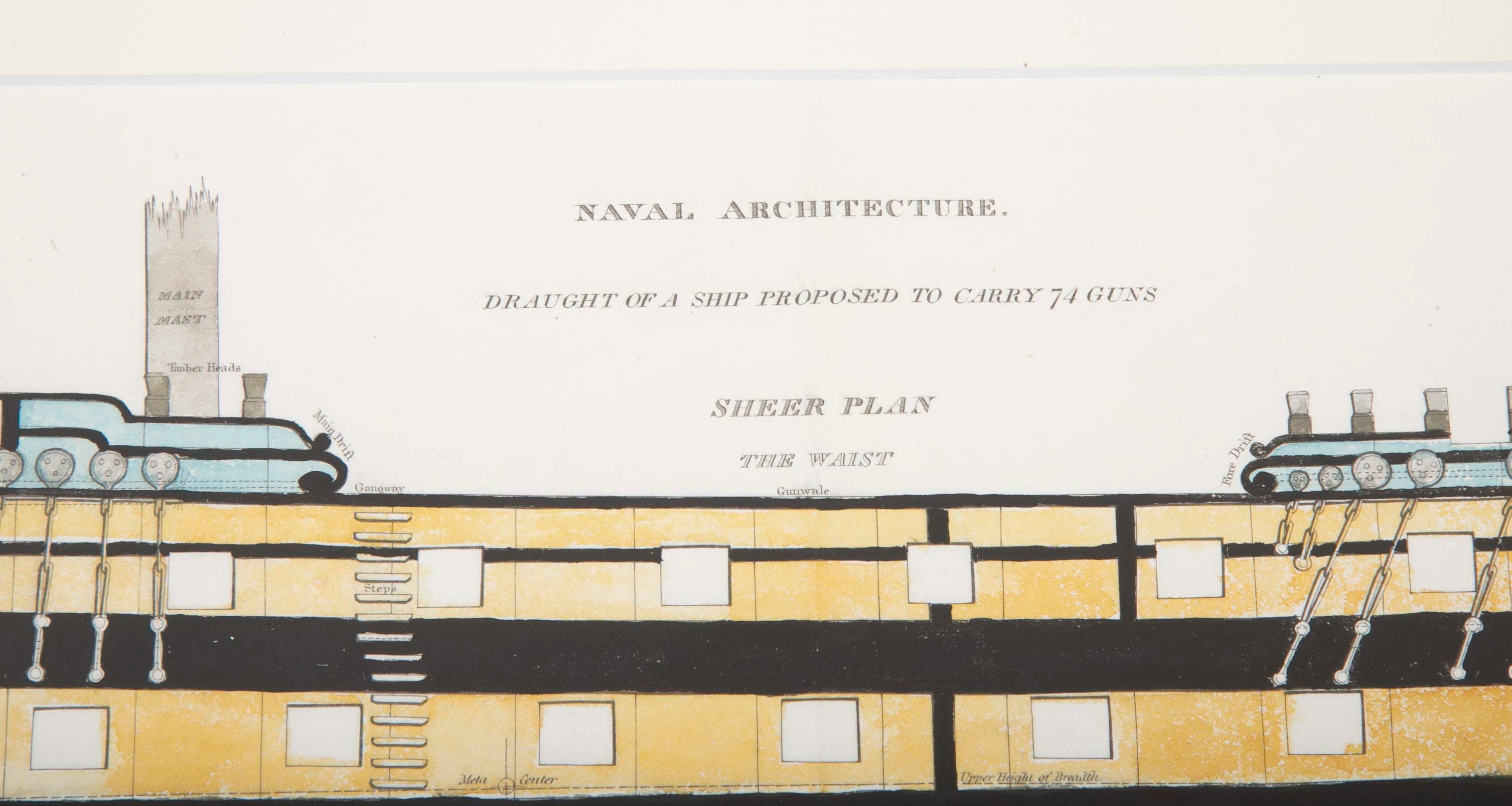 Naval Architecture Plan of British 74 Gun Ship, Early 19th Century
