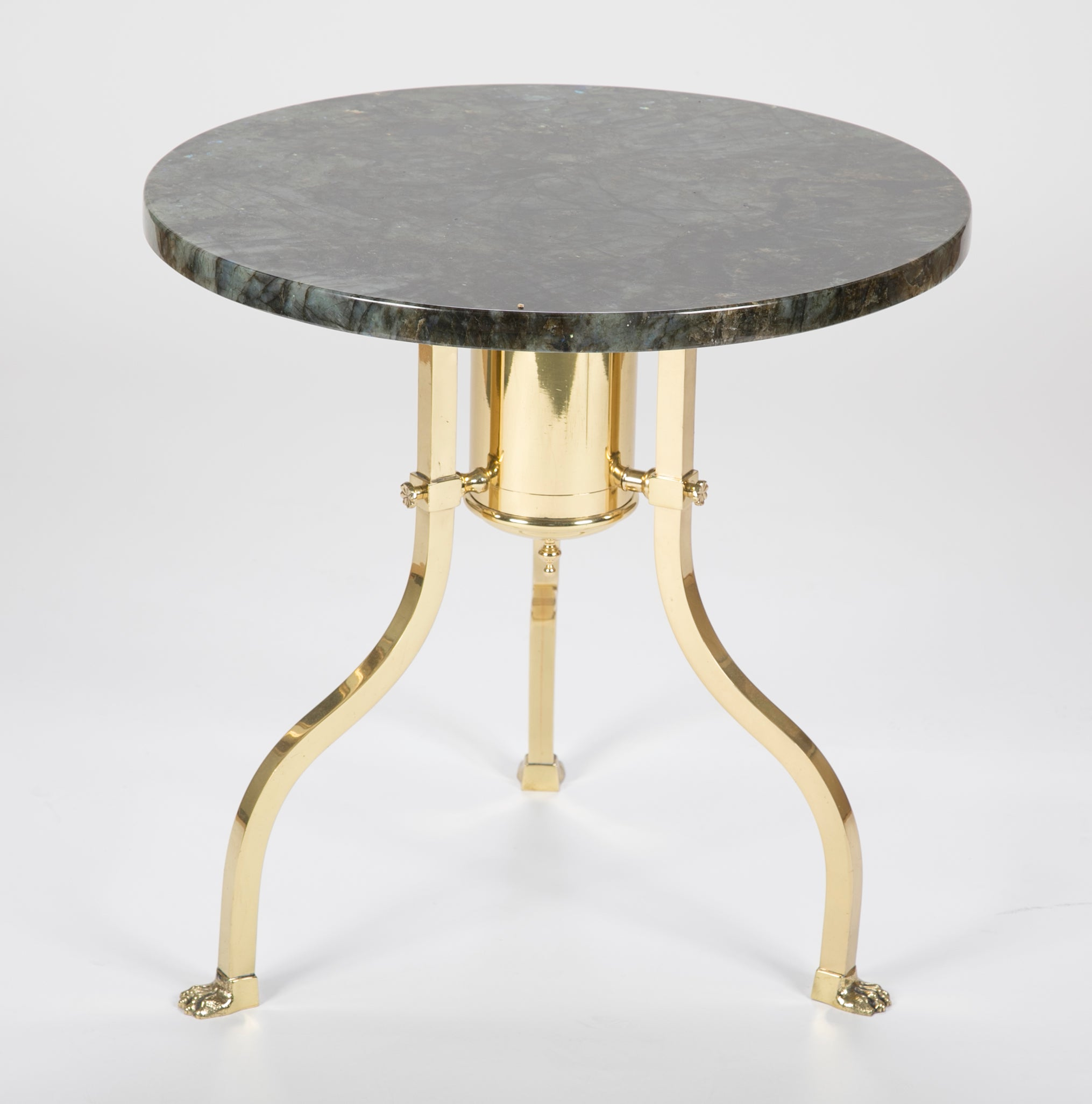 Marble Top Brass Coffee Table.Round Marble Top Brass Side Table