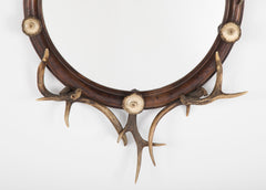 Walnut and Stag Antler Framed Round Mirror