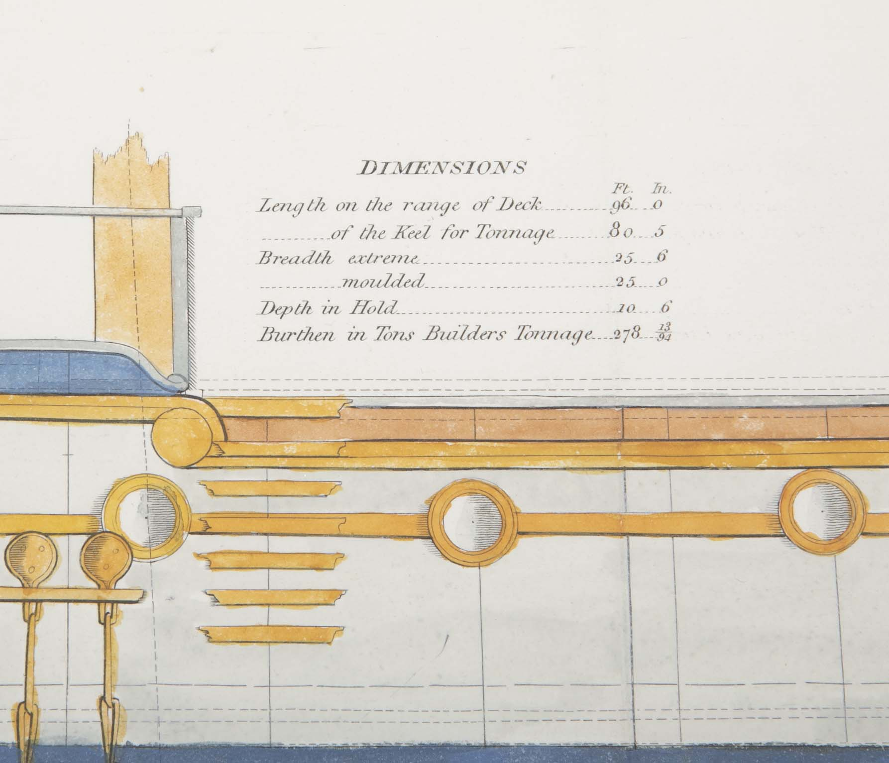 Naval Architectural Plan of the Royal Sovereign Yacht, Early 19th Century