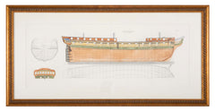 Naval Architecture Plan of British 38 Gun Frigate, Early 19th Century