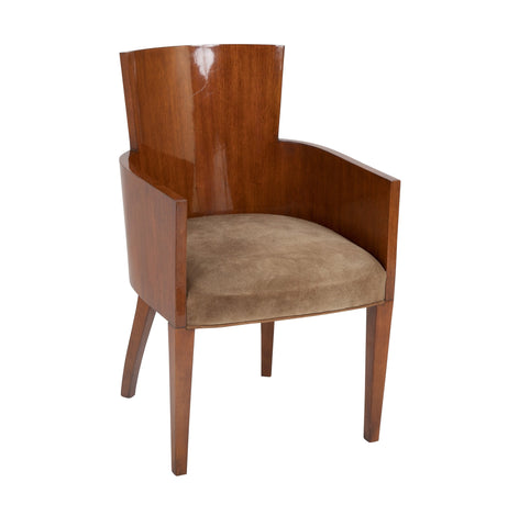 French Tub Back Mahogany Art Deco Armchair