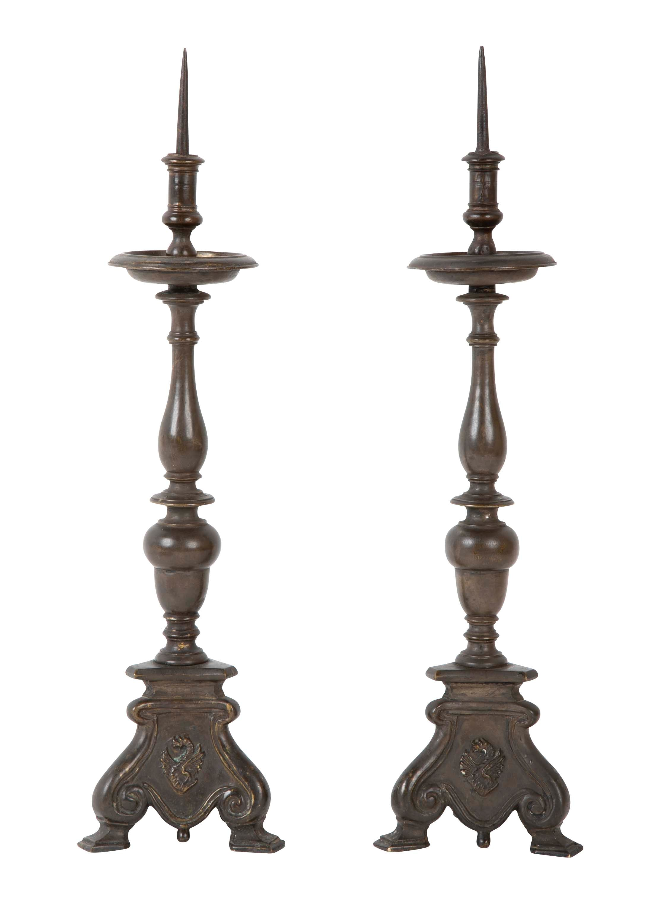 Pair of Italian Bronze Pricket Candlesticks