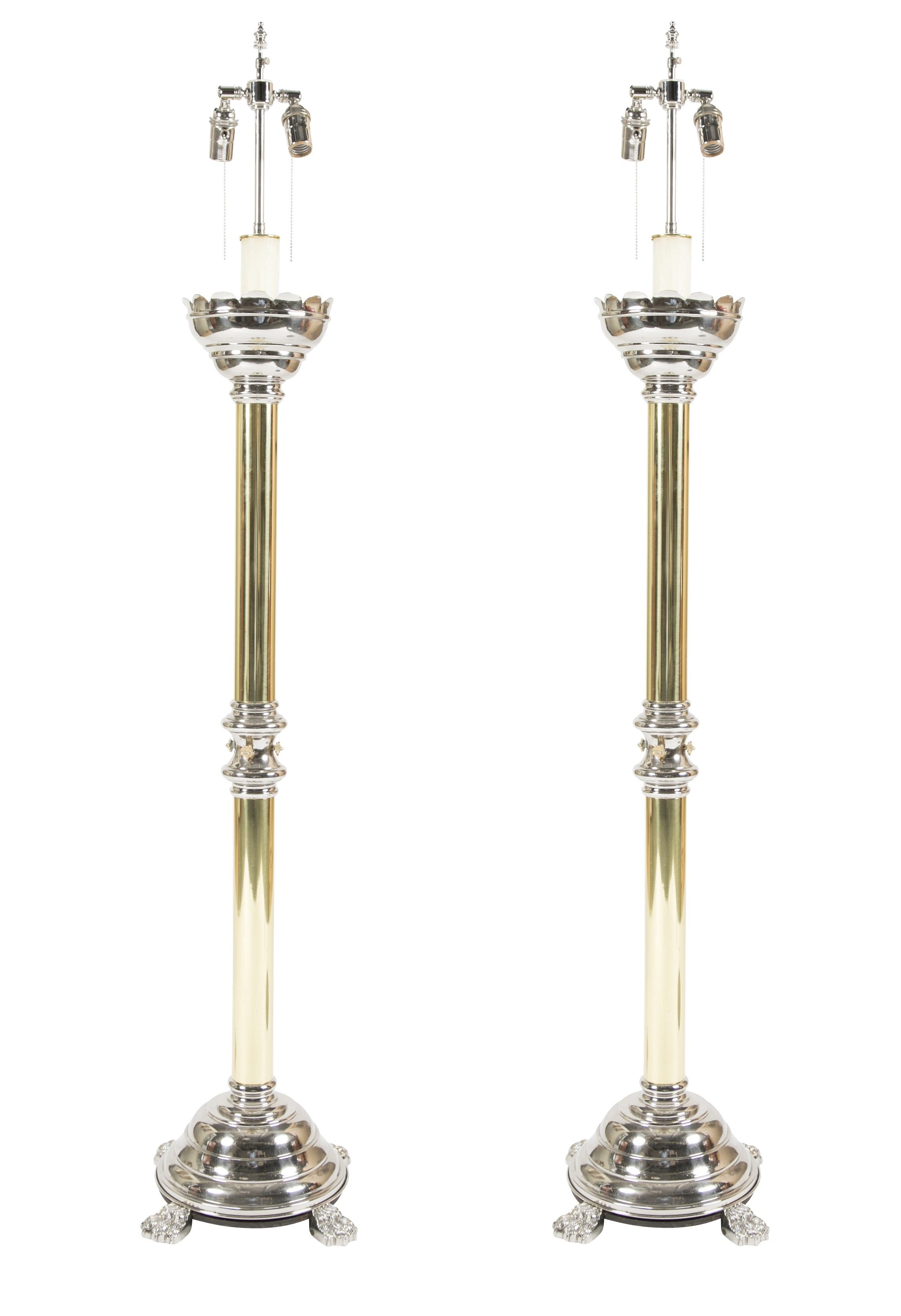 Pair of Brass & Nickel Altar Sticks now Electrified