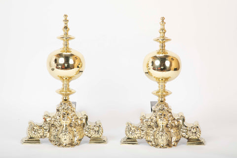 Pair of French Louis XV Style Brass Chenets