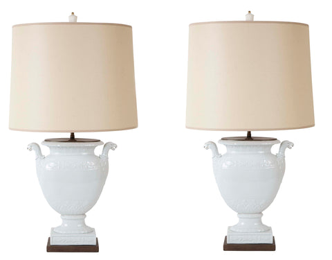 Pair of Federal Period White Glazed Lamps