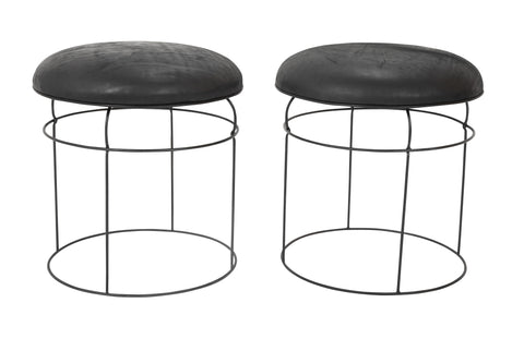 Pair of Mid-Century French Leather Top Wire Stools