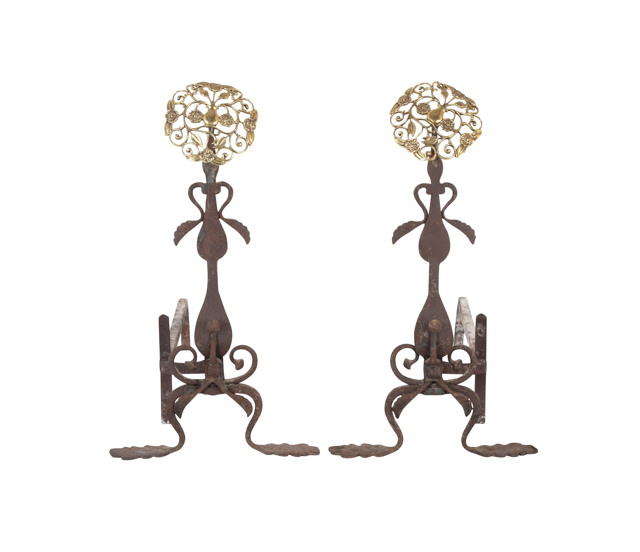Pair of Brass & Iron Andirons with Pierced Brass Medallions.  Tools Available