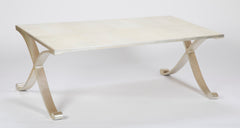 Contemporary Coffee Table of Silvered Metal with Faux Shagreen Surface